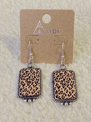 Hidden Treasure Rectangle Leopard Drop Earring In silver