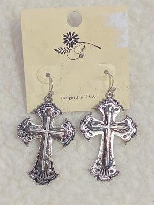 Old World Triple Cross Earring In Aged Silver