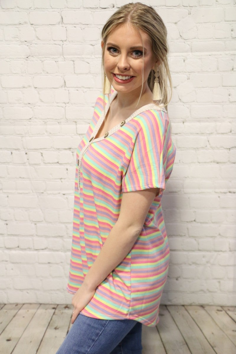 Take Me With You Multicolor Striped Top With Button Detail- Sizes 4-12