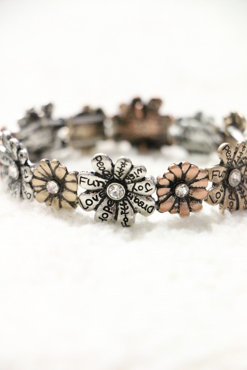 Expressions Of Hope Metal Daisy Stretch Bracelet In Multiple Colors