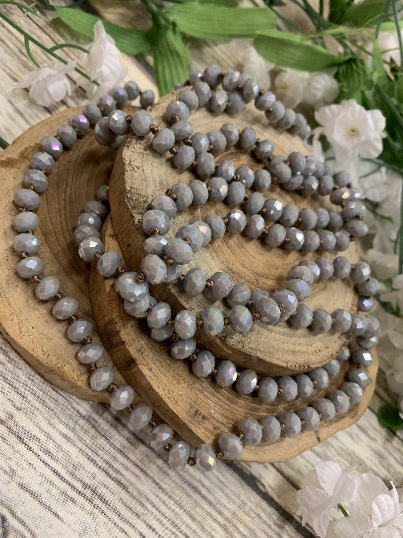 Point Of Perfection Beaded Necklace In Sky Gray