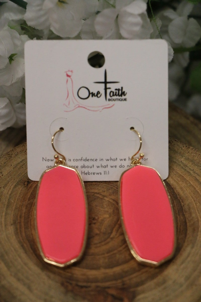 Come This Way Oblong Coral Earrings