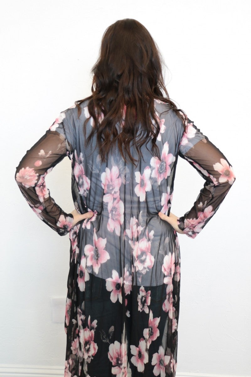 You Are Worthy Floral Duster In Black/Pink- One Size