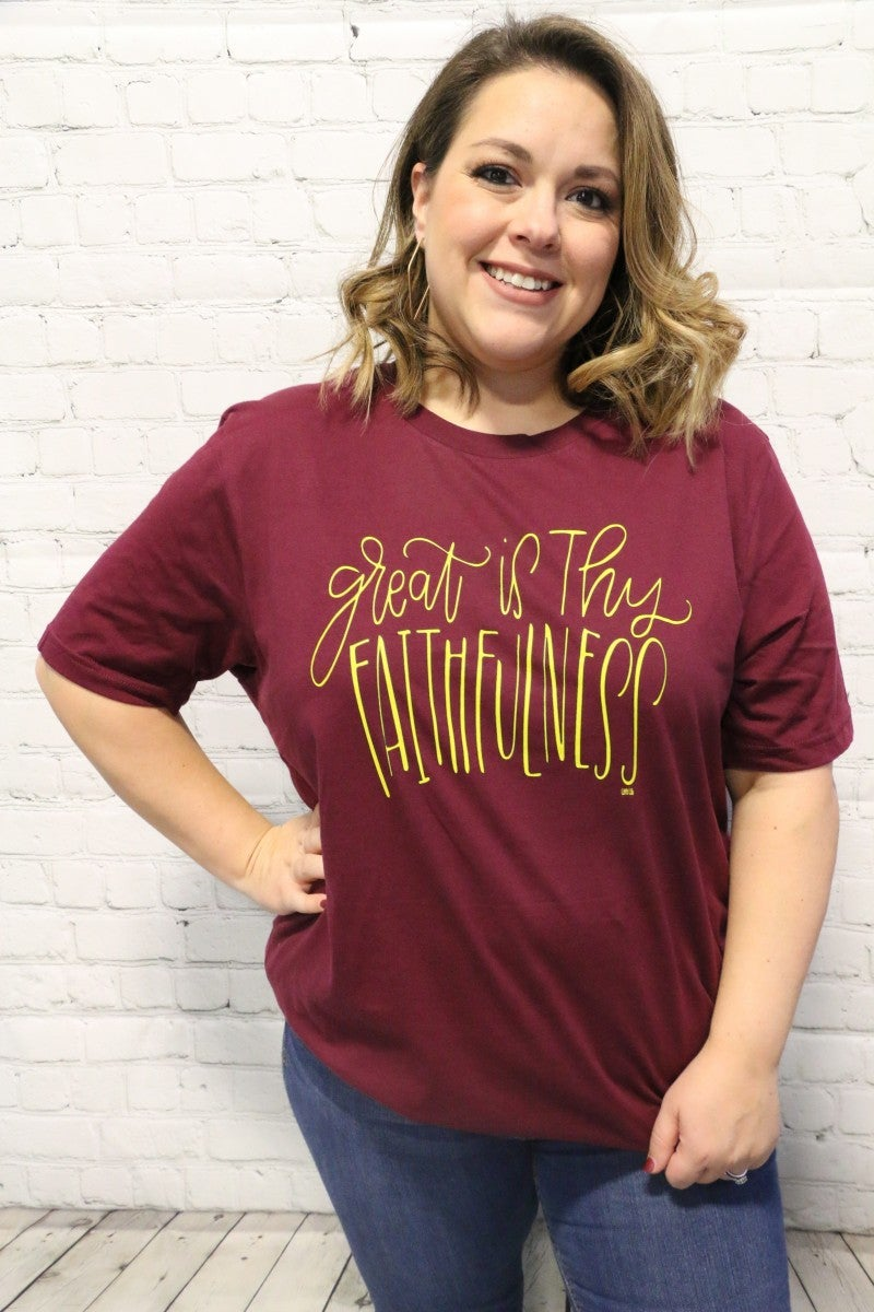 Great is Thy Faithfulness Short Sleeve Graphic Tee in Burgundy - Sizes- 4-20