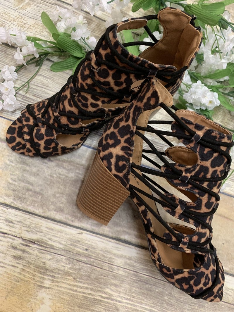 The Hadley Leopard Print Bootie With Cut Outs In Leopard - Sizes 6-10