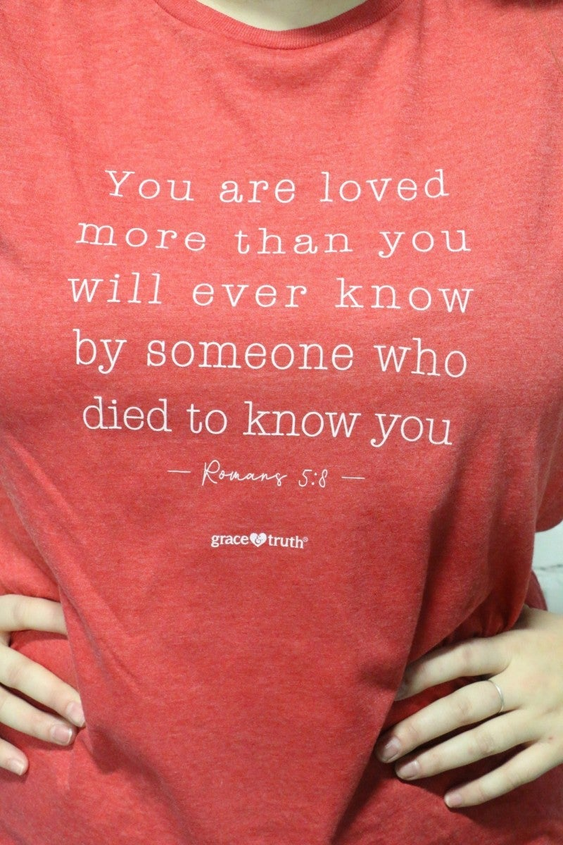 You Are Loved Graphic Tee In Heather Red Sizes 4-18