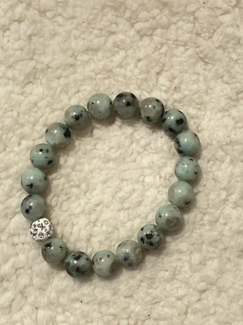 More Than Words Natural Stone Sage Beaded Stretch Bracelet With Shimmer and Shine White Bead