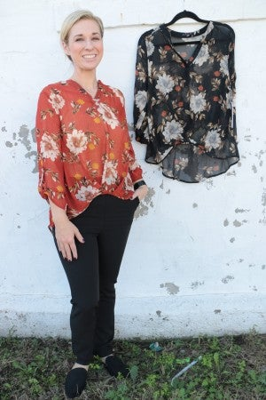 Feeling Sassy Floral Sheer Top With Knotted Hem - Multiple Colors - Sizes 4-10