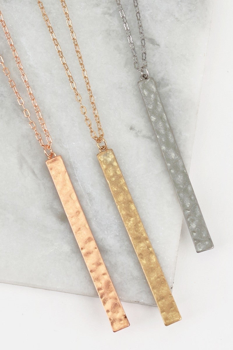 Simplicity Is Key Vertical Bar Necklace - Multiple Colors