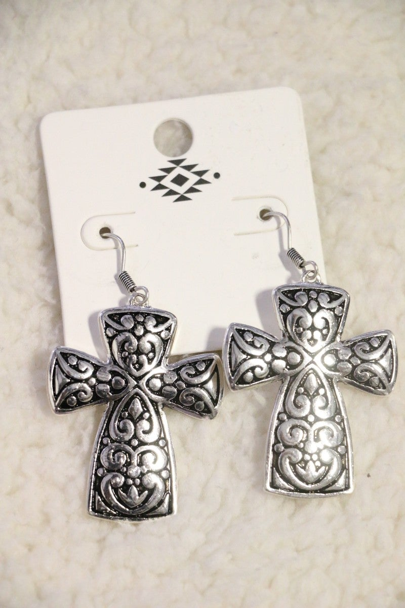 Brighten Your Day Silver And Black Scroll Cross Earring