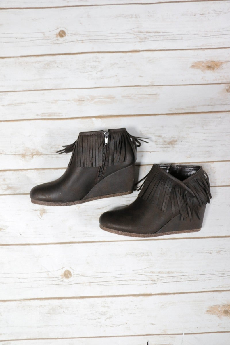 Making My Way Downtown Fringe Brown Wedge Booties ~Sizes 5.5-10
