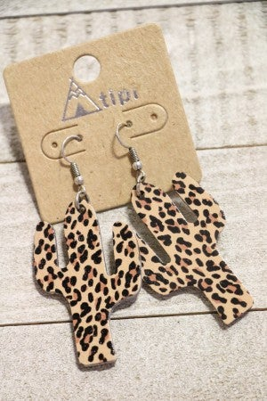 Desert Days Leopard Print Cactus Earrings