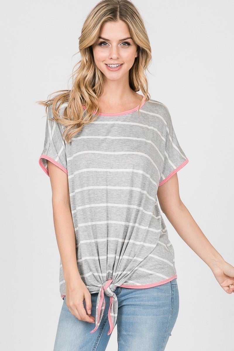 My Savior Lives Striped Top With Pink Piping & Tie Waist In Gray - Sizes 4-10
