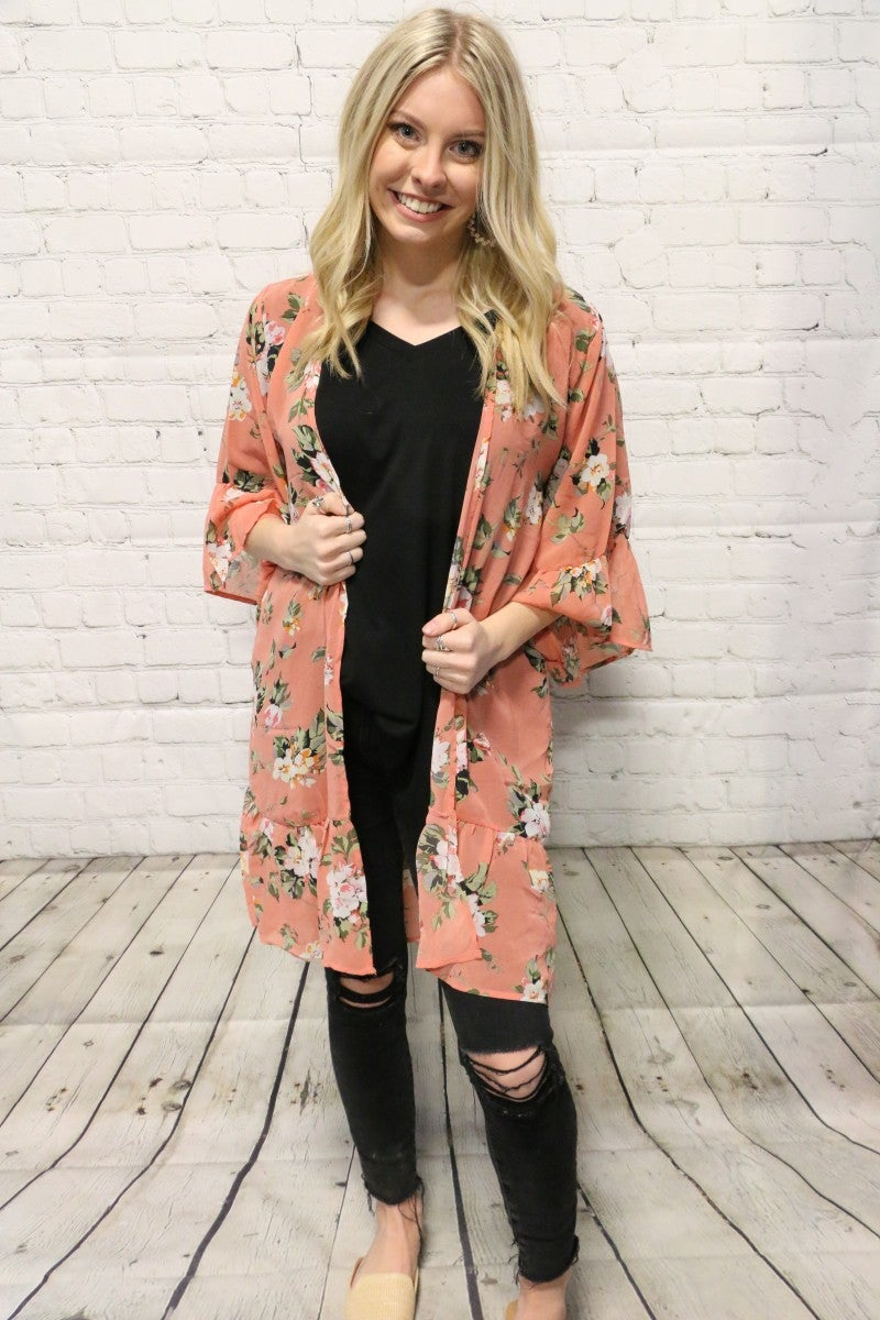 Flowy & Fun Floral Kimono with Ruffle Sleeves - Sizes 4-20