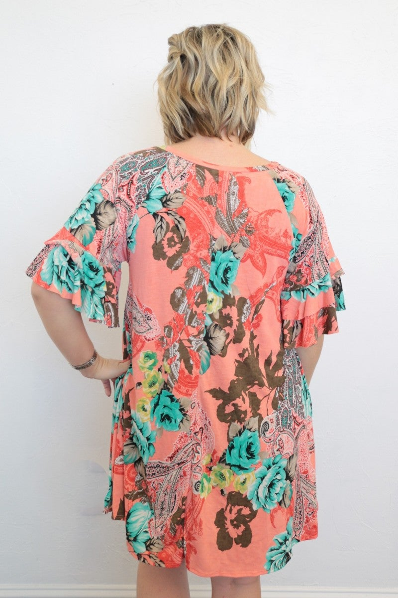 Know When To Fold Em Floral & Paisley Print Dress In Coral - Sizes 4-20