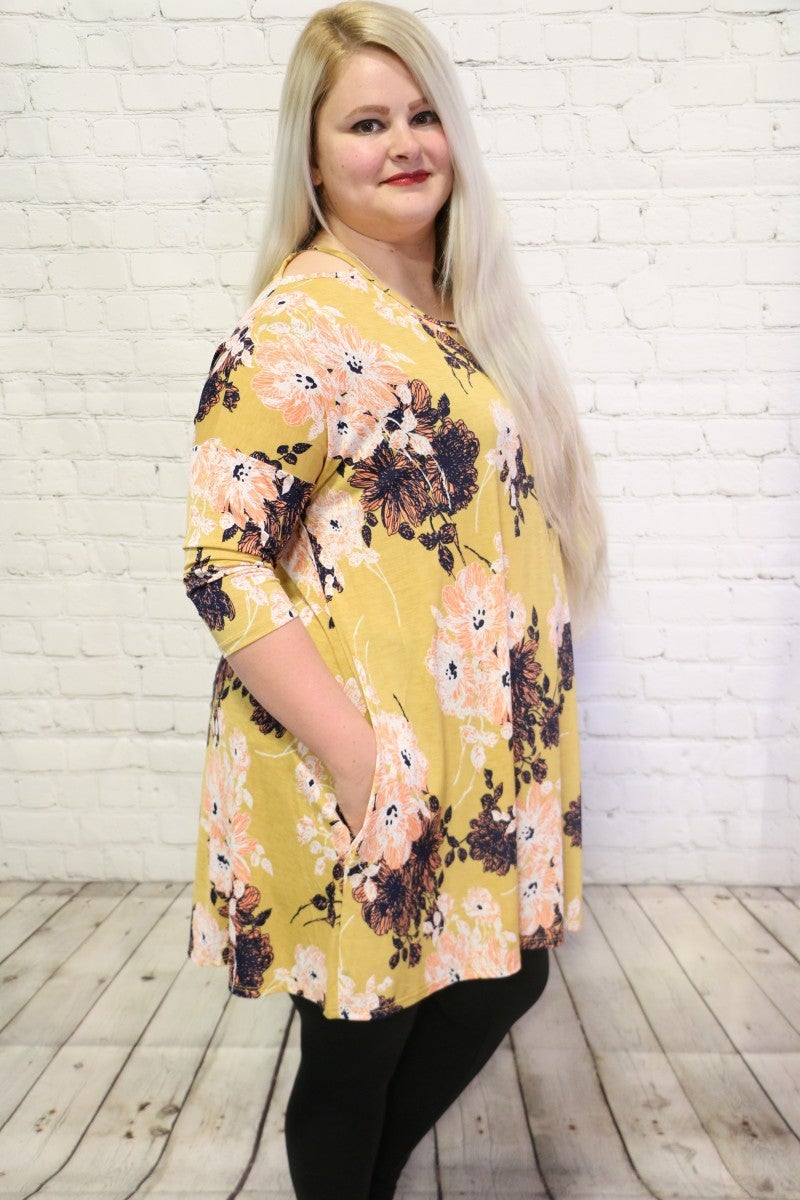 You're My Girl Floral Dress With Shoulder Cut Out Detail In Mustard- Sizes 12-20
