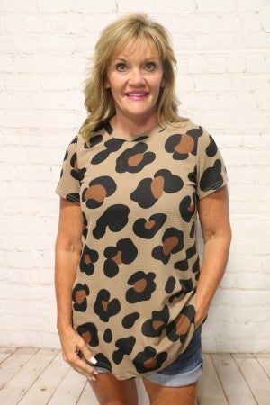 Watch for Me Mocha Short Sleeve Leopard Top - Sizes 4-20