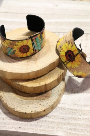 Sunny For Days Sunflower Cuff Bracelet In Multiple Prints