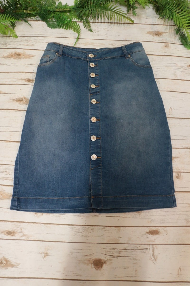 Take a Look at Me Now Front Button Down Denim Skirt Sizes 12-20