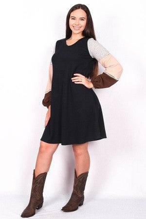 A Piece of Me Navy Dress with Colorblock & Lace Detail - Sizes 4-20