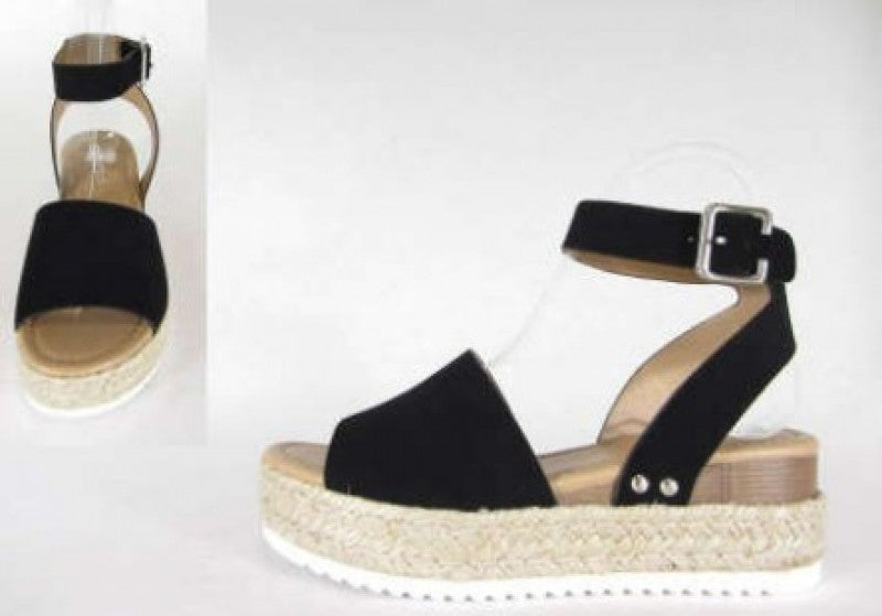One Step Higher Espadrille Sandals - Black