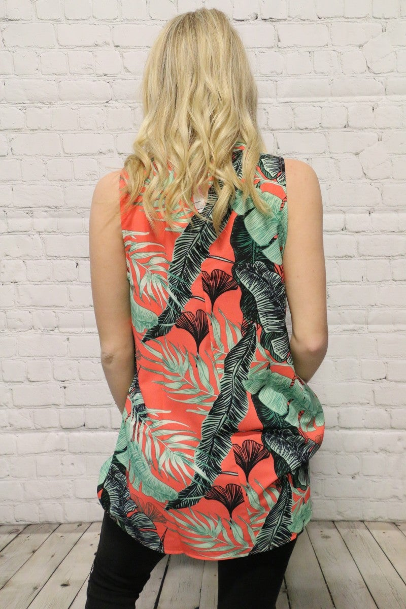Feeling Tropical Sleeveless Top in Coral - SIzes 4-20