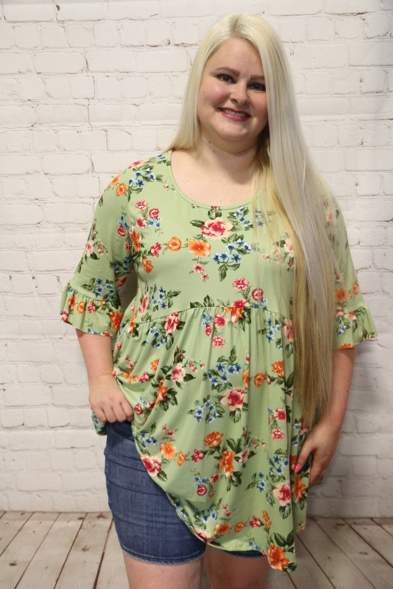 Now or Never Floral Quarter Sleeve Top in Multiple Colors - Sizes 4-20