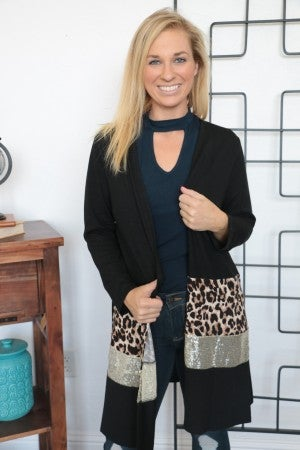 When The Kingdom Comes Leopard & Sequin Cardigan In Black - Sizes 4-20