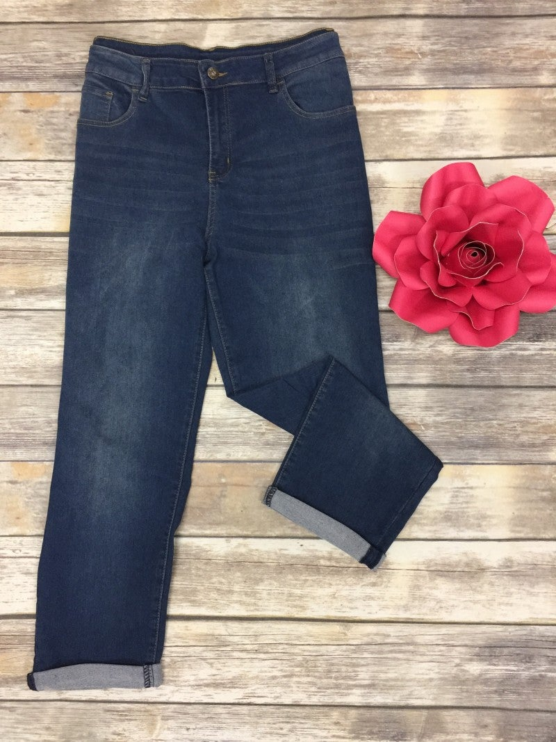 The Grace Cuffed Jean In Medium Denim - Sizes 14-22