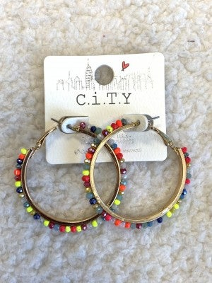 Brighter Days Medium Beaded Hoop Earring In Multiple Colors