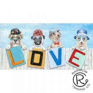 Four Pooch LOVE Canvas Oil Painting