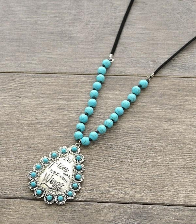 She Flies With Her Own Wings Necklace - Turquoise