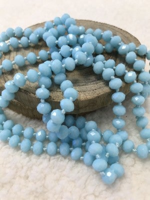Point Of Perfection Beaded Necklace in Sky Blue