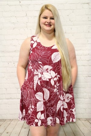 Don't Stop Dreaming Burgundy Floral Dress- Sizes 12-20