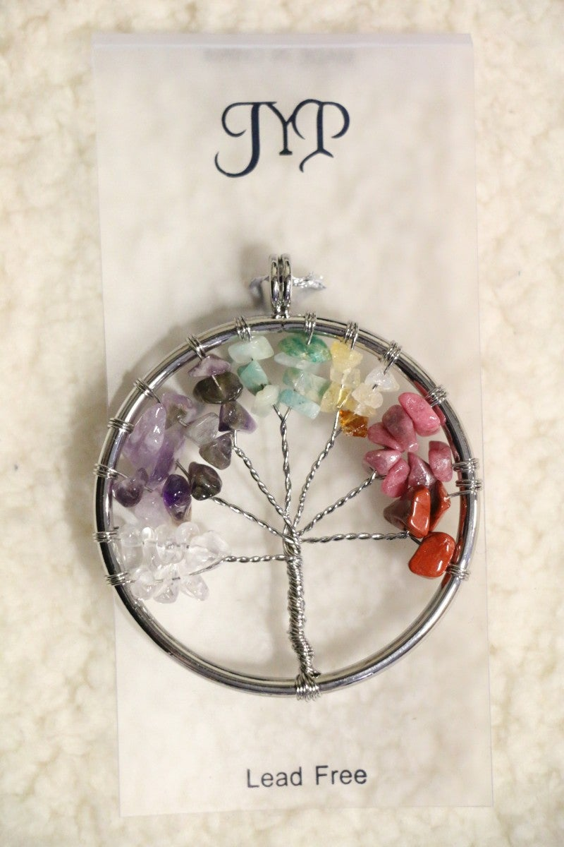 Tree Of Life Large Tree Pendant With Multicolor Gems In Silver