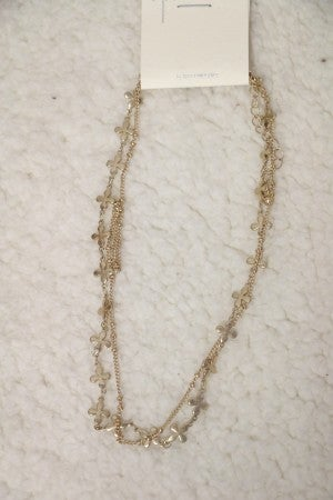 Together Again Double Strand Gold Necklace with Flower Detail