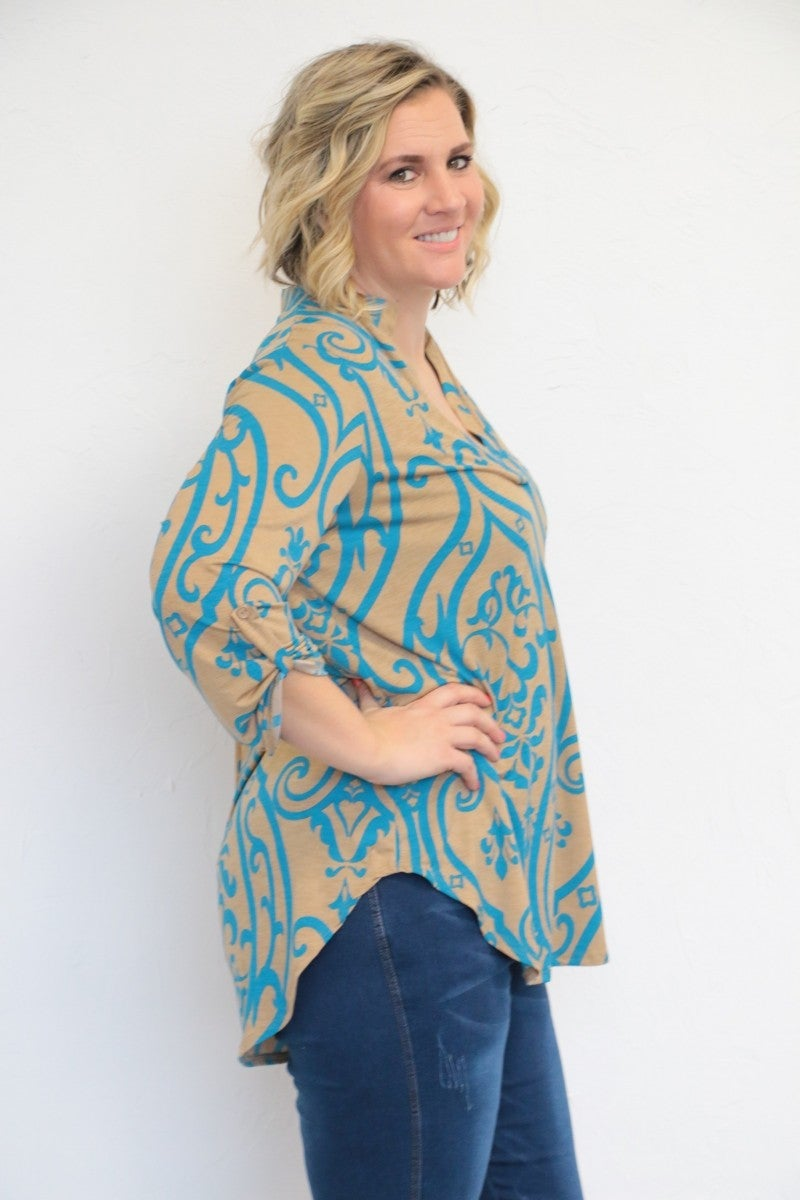 Hit Me Like A Hurricane Damask Print V-Neck Top In Turquoise - Sizes 12-20