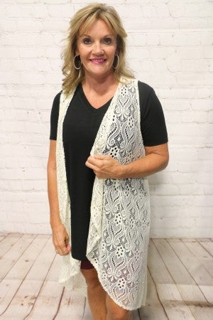Be Mine Lace Kimono Vest in Multiple Colors - Sizes 4-20