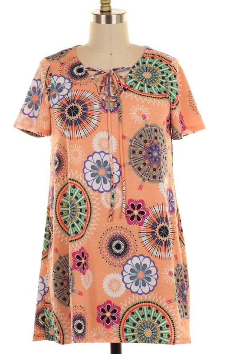 All We Ever Need Circle Print Top in Peach - Sizes 12-20