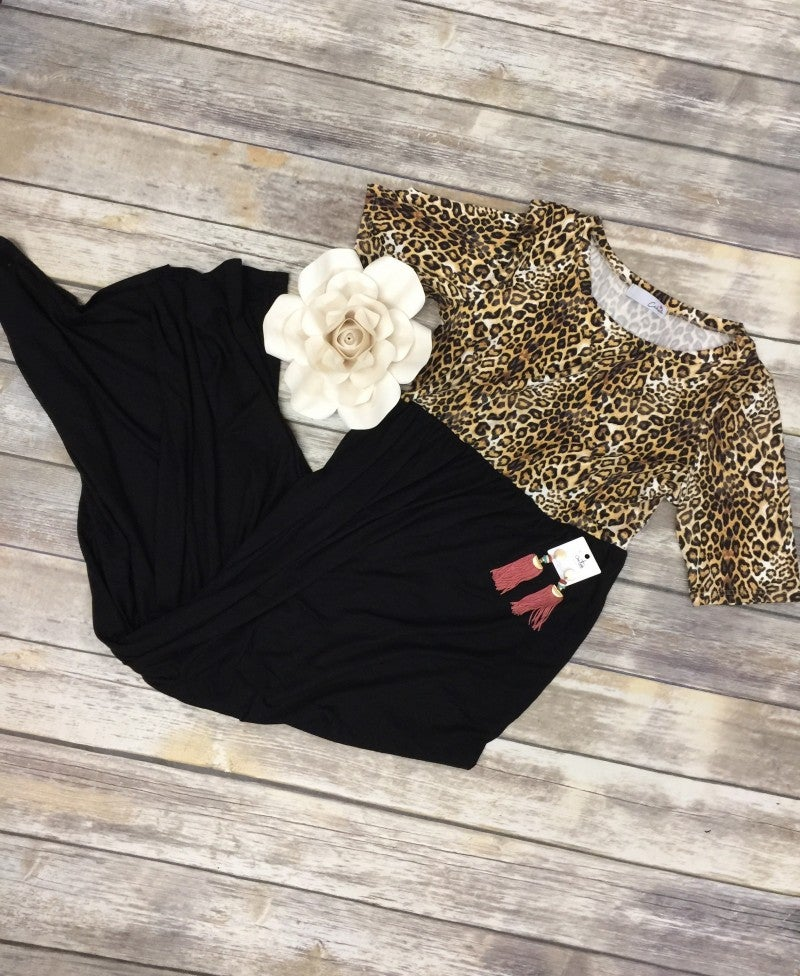 How Beautiful Are Thee Leopard Contrast Maxi Dress In Black - 4-20