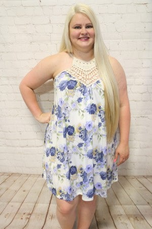 Oh So Pretty Blue Floral Dress With Crochet Detail- Sizes 12-20