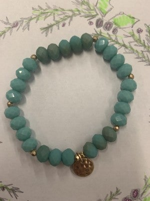 Hit Ya Hard Beaded Bracelet With Gold Hammered Pendant In Turquoise
