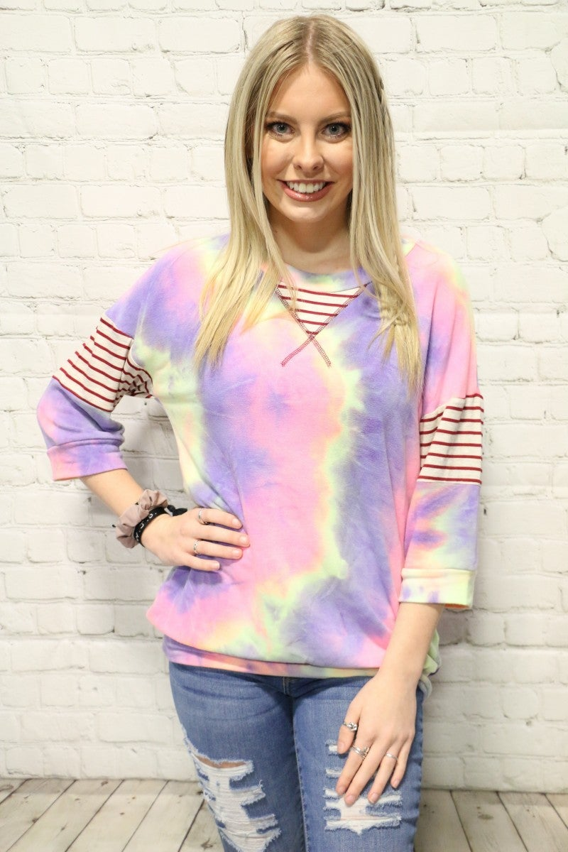 Might Not Mean Much Tie Dye Top With Stripe Accent- Sizes 4-20