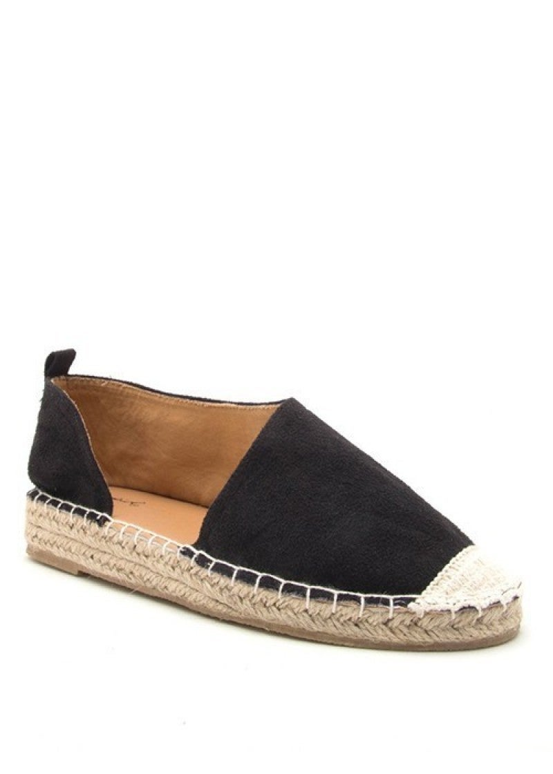 The Taylor Espadrille Open Side Flats - Black
