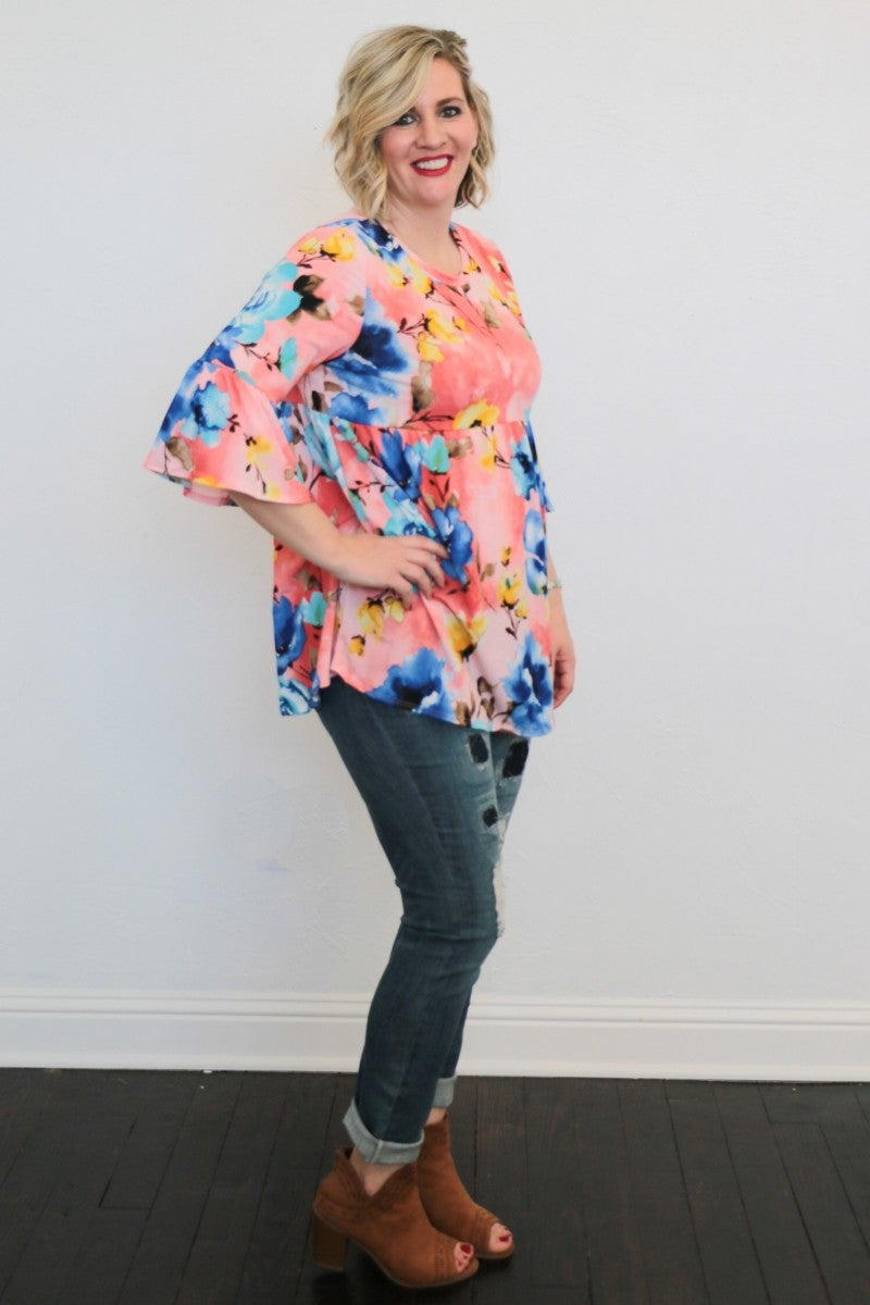 Falling For You Floral Babydoll Top in Pink - Sizes 4-20