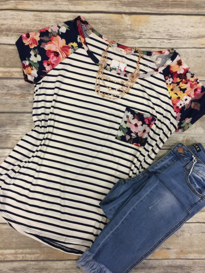Imagine This Striped & Floral Top - Sizes 12-20