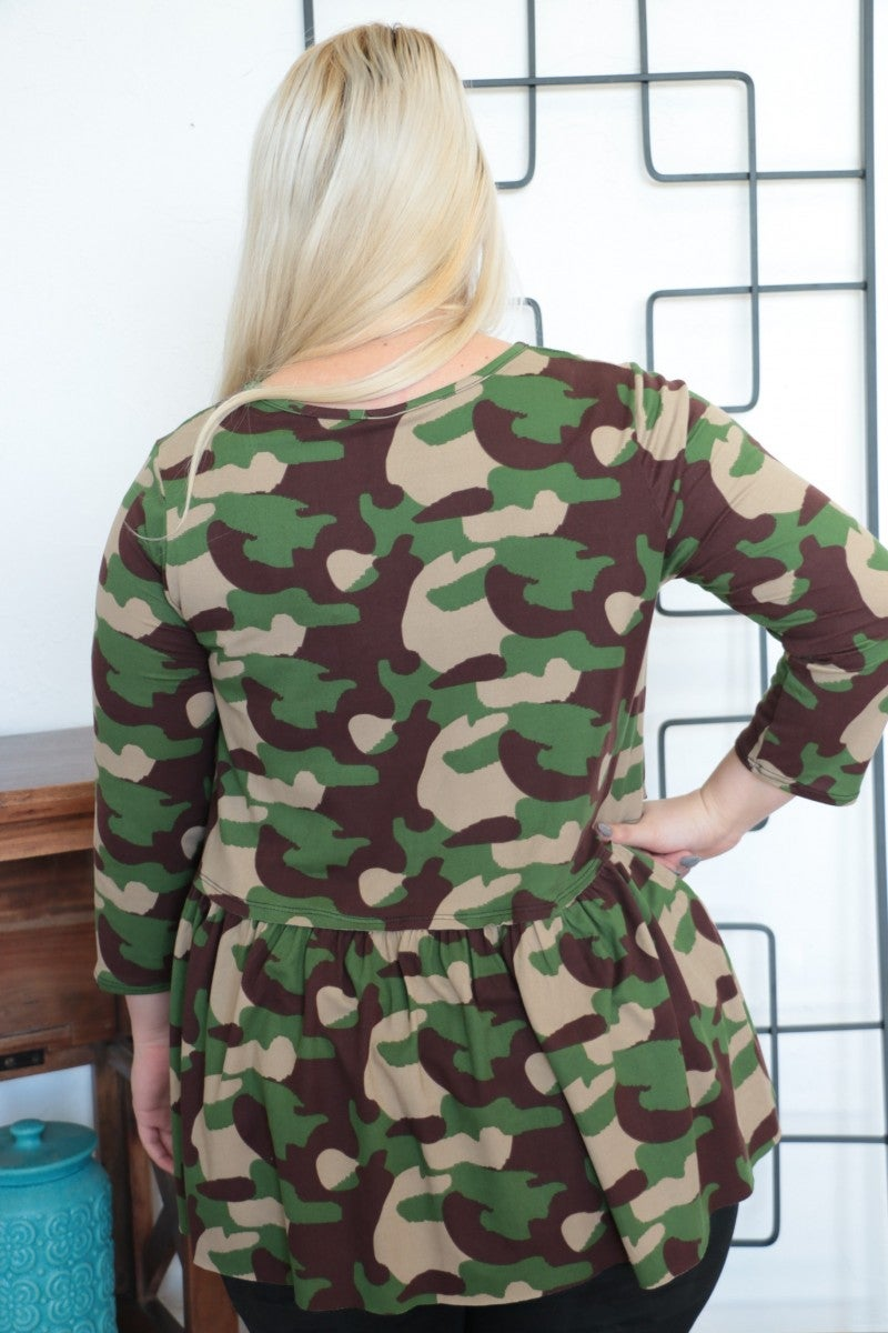 On the Brink Camo Peplum Tunic with Raw Hem Sizes 12-20