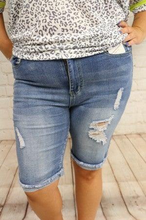 Long Way Home Distressed Medium Denim Bermuda Shorts With Cuff- Sizes 14-22
