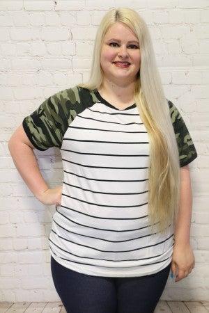 Part Camo, Part Stripes Raglan Short Sleeve Top ~ Sizes 4-20