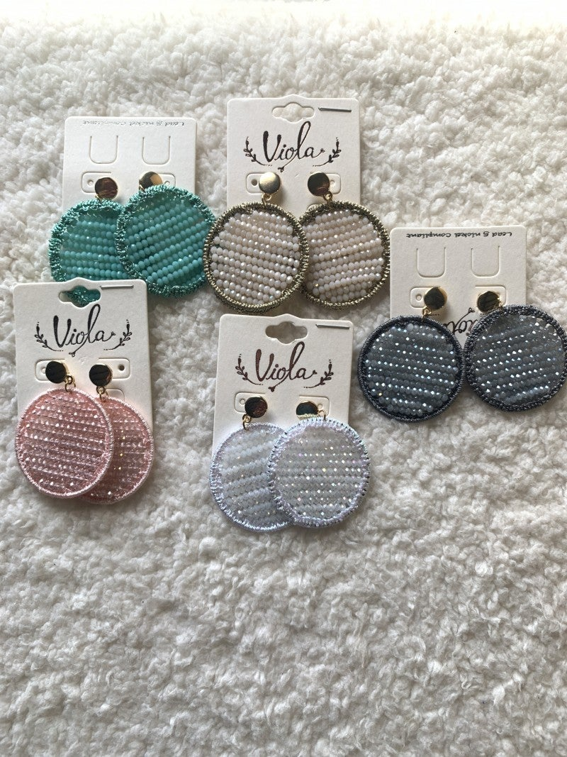 Catch Me Circle Beaded Earrings in Multiple Colors